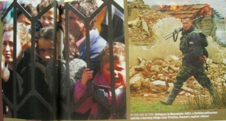 Справа албанские беженцы, слева сербский солдат. Разворот в newsweek