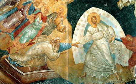 На знаменитой фреске «Воскресение» из константинопольского монастыря Хора (XIV в.) традиционная тема сошествия во ад трактуется с особым драматизмом. В середине композиции – Христос в белой одежде; Христос держит правой рукой руку Адама, а левой – руку Евы. Адам изображен почти бегущим навстречу Христу, Ева – с усилием поднимающейся из глубин ада