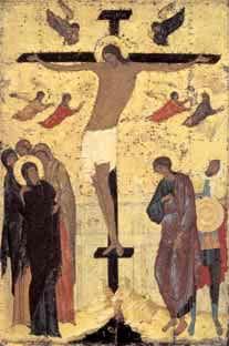 Православная традиция изображает Христа как Победителя, держащего и призывающего в Свои объятия всю Вселенную. На илл.: Распятие Христа. Дионисий, Третьяковская галерея