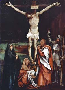 Католическое Распятие часто пишут более натуралистично. Спаситель изображается провисшим на руках, делаетс акцент на мученических страданиях и смерти Христа. На илл.: Матиас Грюневальд. XVI в.