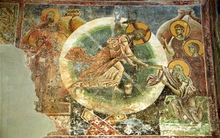 Христос – победитель ада. Это понимание отражено в иконах и фресках, посвященных сошествию во ад. На фреске «Сошествие во ад» из македонской церкви Курбиново (XII в.) в уентре изображен Христос в стремительном движении; правой рукой он держит за руку Адама; в левой руке у Него крест с терновым венцом; голова наклонена к Адаму; гиматий развевается на ветру. Фигура Христа вписана в круг, разделенный восьмью лучами света на восемь сегментов; направление основных линий, образующих фигуру, совпадает с направлением лучей, что придает всей композиции почти геометрическую правильность и строгую пропорциональность