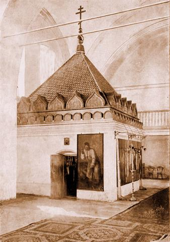 Наружный вид келлии преп. о. Серафима, в которой скончался преподобный (над келлией сооружен новый храм во имя Св. Троицы).