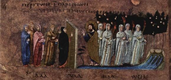 Великий вторник - Притча о десяти девах. VI в. Миниатюра Евангелия из Россано. Музей в Россано, Италия