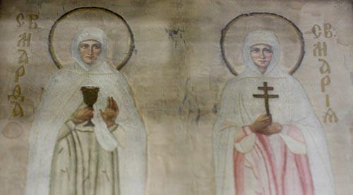 Икона свв. Марфы и Марии, вышитая Елизаветой Федоровной
