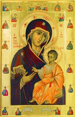 Иверская икона Божией Матери вратарница 1995 г. Иконописец иером. Лука (Иверская часовня, Москва)