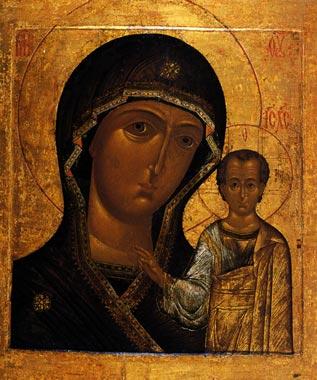 Согласно восточно-христианской традиции Богородицу принято изображать в вишневом мафории (плате), синей тунике и голубом чепце. На мафории обычно изображаются три золотые звезды -- символ девства «до Рождества, в Рождестве и по Рождестве» и символ Святой Троицы. Во многих иконах фигура Богомладенца закрывает собой одну из звезд, символизируя тем самым Воплощение второй ипостаси Святой Троицы -- Бога Сына. Кайма на мафории - знак Ее прославления. Например, на мафории Богоматери Донской исследователи увидели надпись и расшифровали ее, и в ней действительно прочитывается прославление Богородицы
