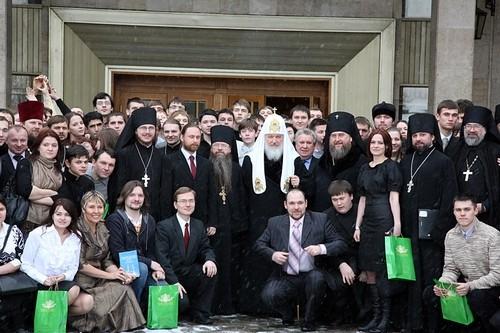 Встреча молодежи с Патриархом в Даниловом монастыре