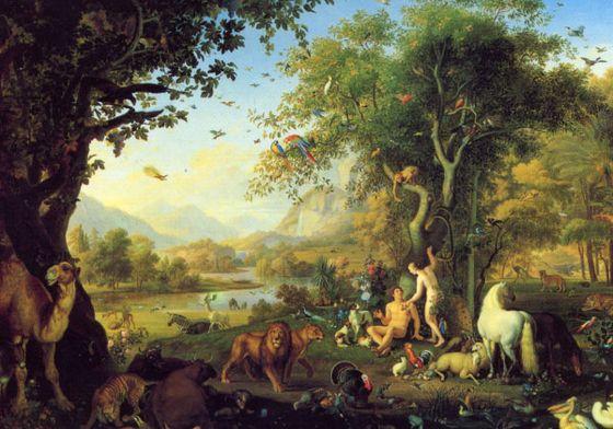«Адам и Ева в Земном раю». Картина Венчеслао Петера (Wenceslao Peter; 1742, Богемия — 1829, Рим)