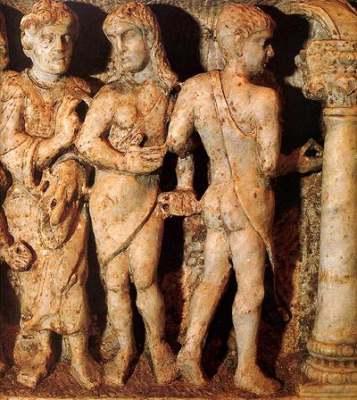 Изгнание из рая. Раннехристианский саркофаг. Деталь.