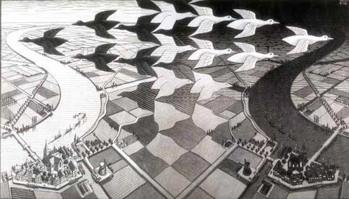 """Тайм-менеджмент напоминает нам, что время жизни ограничено. Лучше, чтобы оно пролетело не зря. На илл.: Мауриц Корнелис Эшер """"День и ночь"""". Гравюра, 1938 год"""