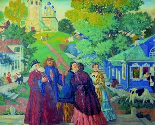 """Б.М.Кустодиев """"Встреча (Пасхальный день)"""" 1917"""