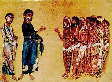 Исцеление прокажённых Четвероевангелие из Гелати. XII век.