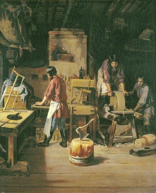 1839. Плахов Лавр Кузьмич. В столярной мастерской