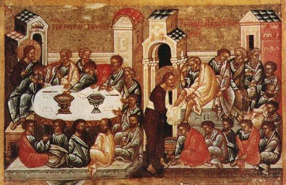 Тайная Вечеря и омовение ног. Ок. 1497 г.