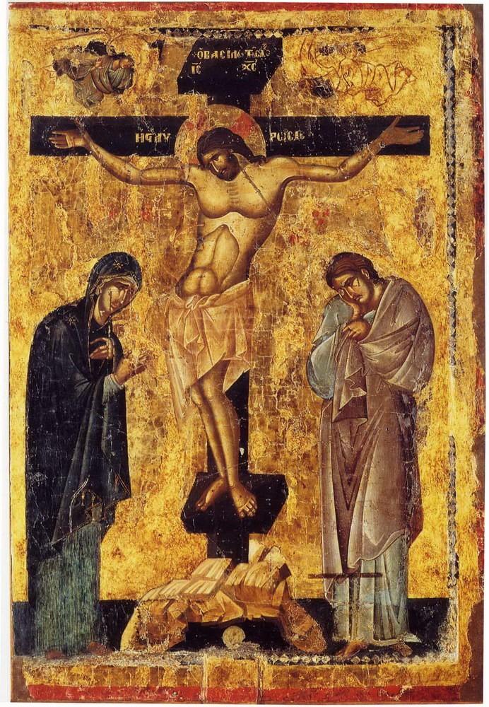 Распятие Господне, византийская икона, Из коллекции lib.pstgu.ru