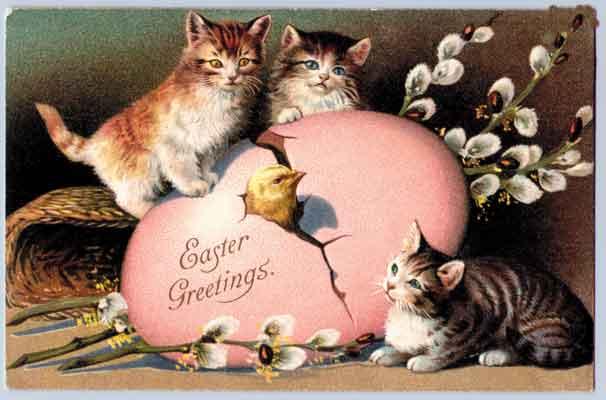Открытка на Пасху с котятами