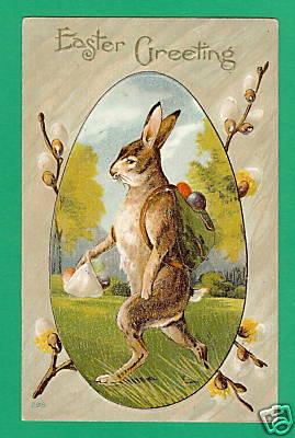 Зарубежная открытка на Пасху с кроликом