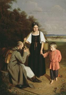АЛЕКСЕЙ КОЛЕСОВ. Крестьянка, подающая солдату пить. 1859