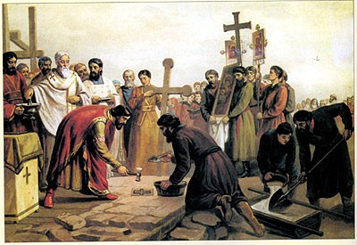 Закладка первого десятинного храма в Киеве. Князь Владимир Святой