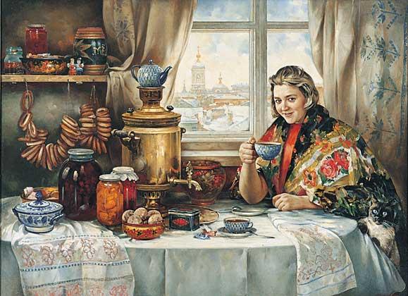 """Конфетки, бараночки..."" Холст, масло, 150 х 220 см, 1997 г."