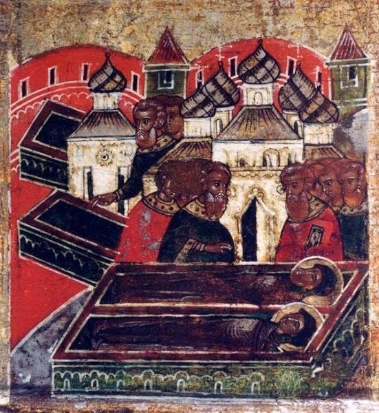 Обретение тел Петра и Февронии в едином гробе