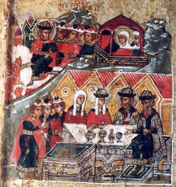 Исцеленный князь Петр увозит Февронию в Муром, где они сидят на пиру с князем Павлом и его супругой