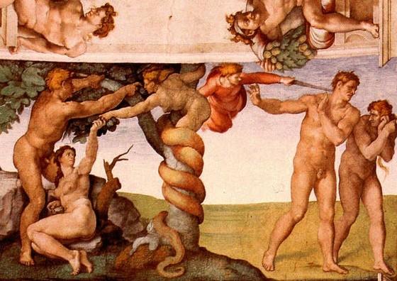 Сотворение Адама и Евы, изгнание из рая. Микеланджело