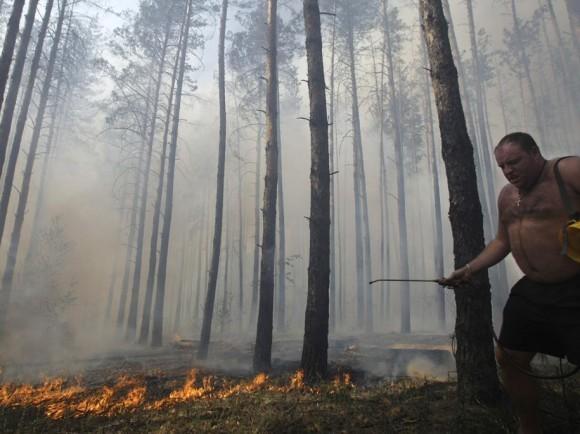Местный житель старается потушить пожар в воронежском лесу