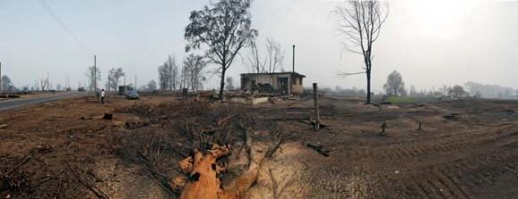 Панорама села Верхняя Верея Выксунского района Нижегородской области. После пожара от более чем трехсот домов осталось лишь несколько построек.