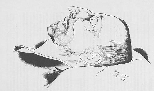 Александр Блок на смертном одре. Рисунок Юрия Анненкова.