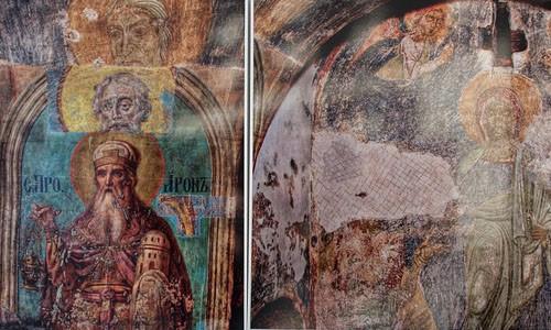«Тройная фреска» — видно как со временем записывали древние изображения более новыми