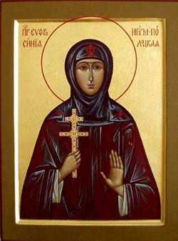 Икона св. прп. Евфросинии Полоцкой. В руках святая держит знаменитый крест, ставший символом Полоцка