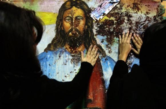 Залитый кровью лик Христа в коптской Церкви