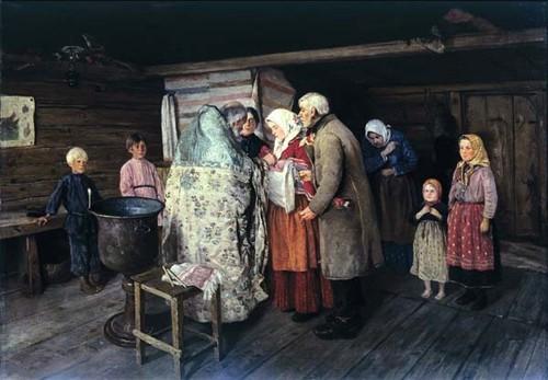 Коровин Петр Иванович  (1857 – 1919)  Крестины. 1896.