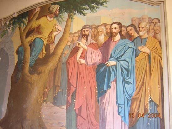 Изображение в русском храме на месте дома Закхея, Иерихон