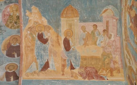 Дионисий. Пафнутьево-Боровский монастырь, фрагмент росписи. Слева Проклятая смоковница