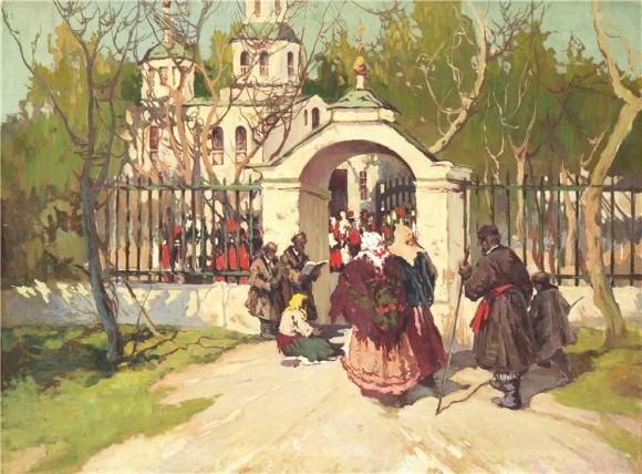 Колесников Степан Фёдорович (1879-1955) «Перед пасхальной службой»