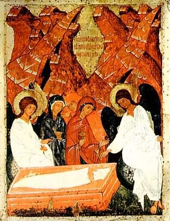 Жены-мироносицы у Гроба. XV век. Русский музей