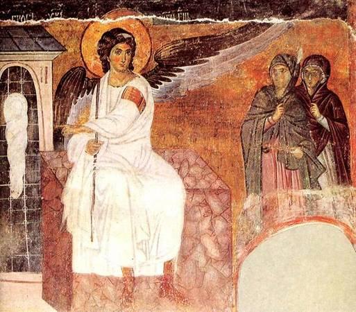 Ангел и жены-мироносицы у Гроба. Милешева, церковь Вознесения