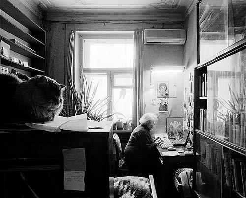 Содружество.. Марина Андреевна и кот Мишка - оба за работой. Фото священника Игоря Палкина