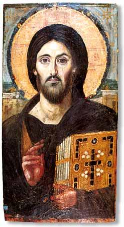 Христос Пантократор. Икона, монастырь св. Екатерины (Синай)
