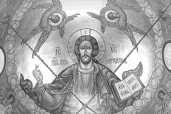 Спаситель. Фрагмент внутренней росписи (купол) Покровского собора в Чикаго. Собор полностью расписан владыкой Алипием