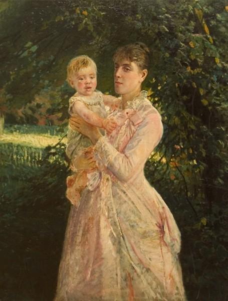Портрет Е.И. Ге с сыном Николаем
