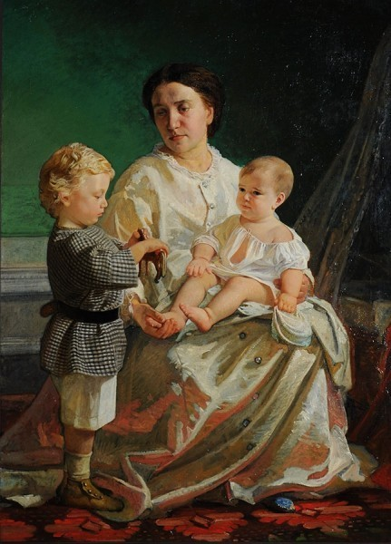 Портрет А.П. Ге с детьми