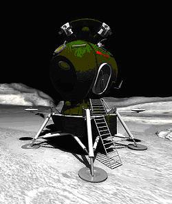 Общий вид лунного посадочного корабля - модуль «ЛК». Компьютерная графика.