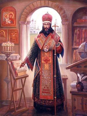 Святитель Дмитрий Ростовский за работой