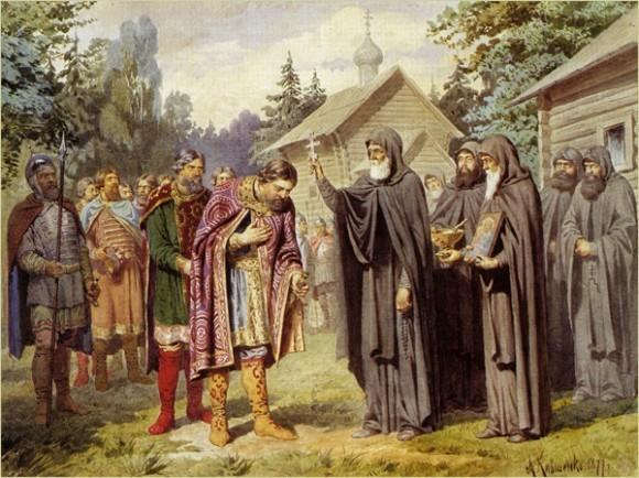 Преподобный Сергий благословляет Д. Донского. Кившенко А.Д.