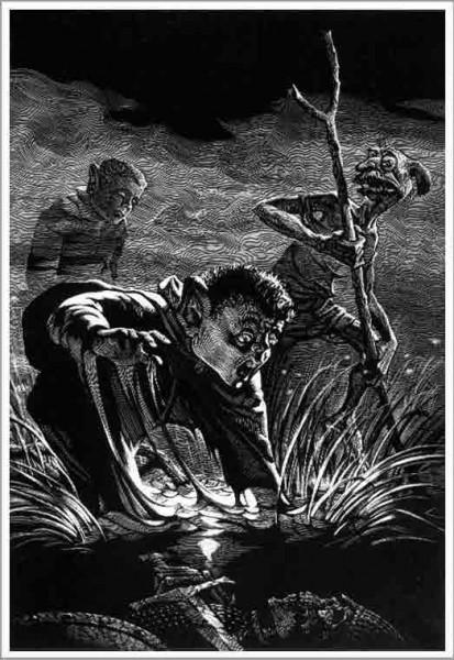 """Иллюстрация к эпопее Д. Р. Р. Толкина """"Властелин Колец"""" 1984-97, грунтография."""