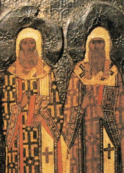 Митрополиты Московские Петр и Алексий. Изображение на иконе
