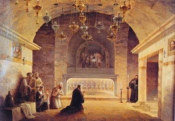Пещера Рождества Христова в Вифлееме. 1833 г. Худож. М.Н. Воробьев